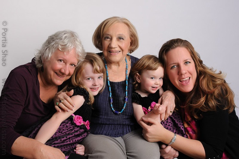 4 generations of women in family portrait