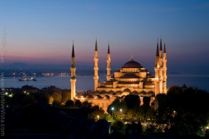 the blue mosque at dawn by Portia Shao